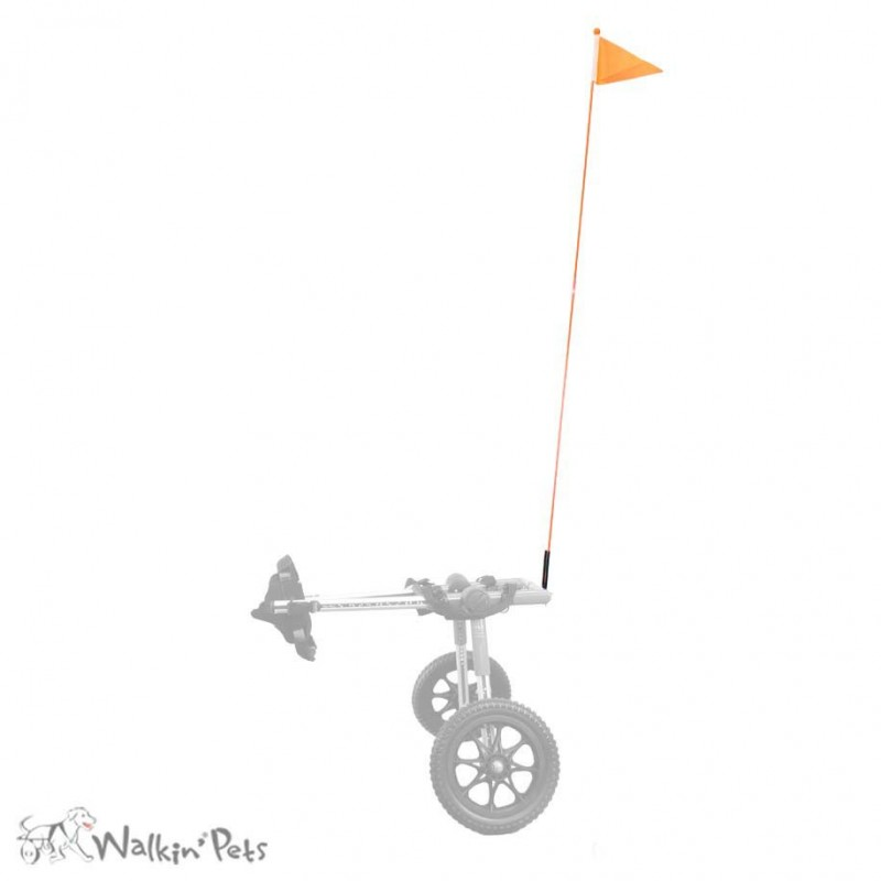 Drapeau signalisation fanion chariot roulant walkin wheels chien chats mikan