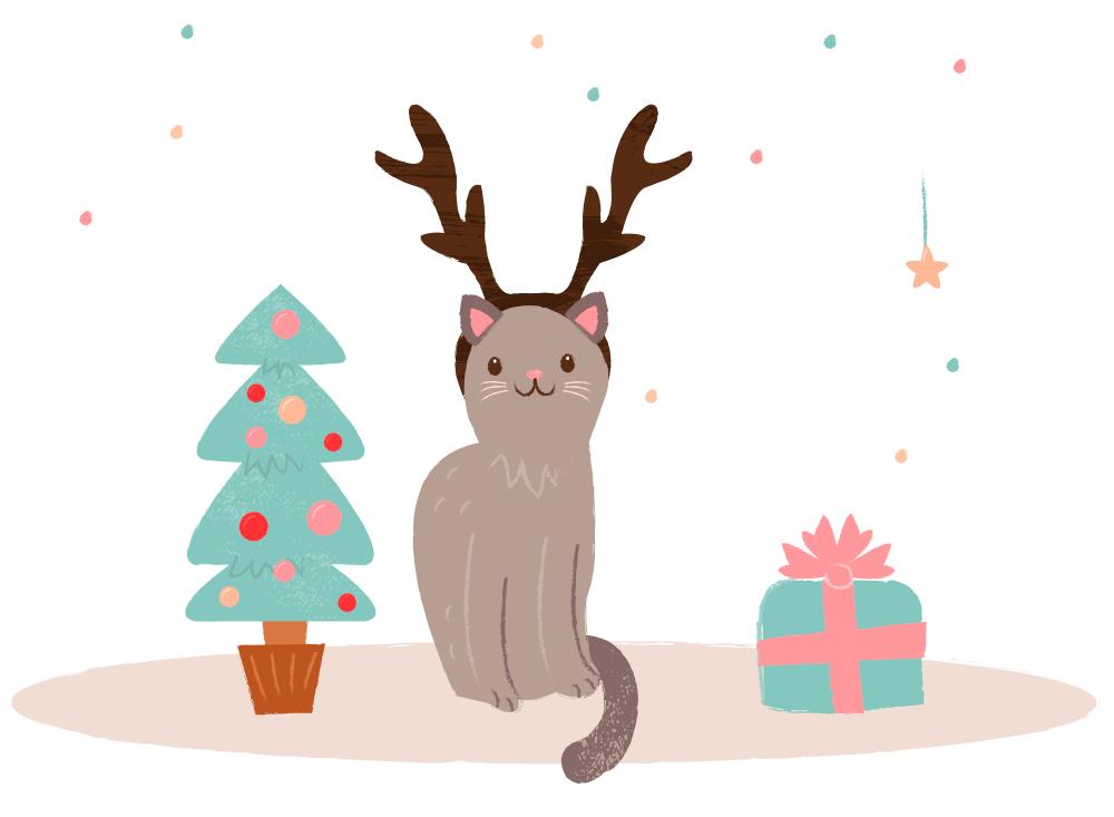 Noel chats et les sapins